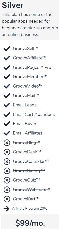 GrooveFunnels Silver Plan